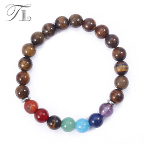 Bamboo Kitty Natural Tiger Eye Seven Chakra Bracelets Handmade High Quality Rainbow Beads Healing Bracelets Asian Hot Sale Jewelry