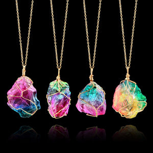 Bamboo Kitty 2018 Fashion Rainbow Stone Necklace Gold Color Chain Natural Stone Chakra Rock Druzy Quartzs Necklace for Women Gifts