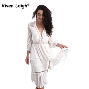 Bamboo Kitty Viven Leigh White Retro Gypsy Boho Midi Dresses Women Sexy Floral Hollow Out Lace Patchwork Party Dress Bohemian Long Dress 2018