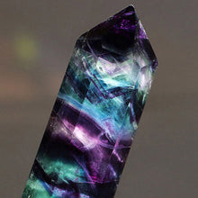 Bamboo Kitty Natural Hexagonal Crystal Quartz Healing Fluorite Wand Stone Purple Green Gem