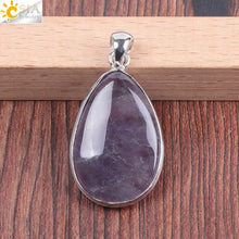 Bamboo Kitty Reiki Natural Water Teardrop Drop Pendants for Necklace Green Aventurine Pink Crystal Quartz Chakra Pendulum Jewellery F041