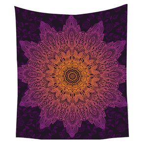 Bamboo Kitty BeddingOutlet Bohemian Flower Tapestry Gradient Purple Mandala Wall Carpet Bohemian Life Wall Sheet 130x150 150x200 Hot Sale