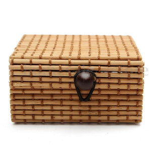 Bamboo Kitty Vintage Bamboo Weaving Storage Box Jewelry Necklace Retro Sundries Organizer Soap Makeup Cosmetic Holder Button Switch Container