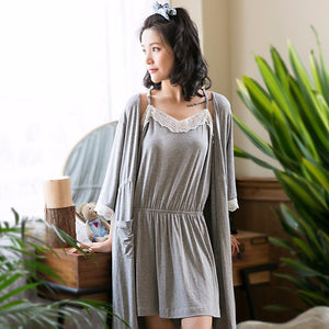 Bamboo Kitty Women's 2 Pcs Sleepwear Set Lace Sexy Solid Bamboo Fiber Robe Set