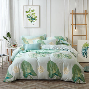 Bamboo Kitty bamboo fiber Silk feeling bedding set  Fantasy green leaf bohemian vintage bedclothes bed linen super soft bedspreader