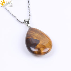 Bamboo Kitty Natural Gem Stone Water Drop Pendulum Necklaces & Pendants Bohemian Chakra Reiki Tiger Eye Aventurine Opal Onyx Bijoux F132
