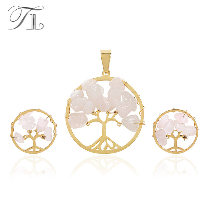 Bamboo Kitty Pink Chakra Tree Of Life Jewelry Set Pendant Necklace&Earrings Gold Color Stainless Steel Crystal Natural Stone Set For Women