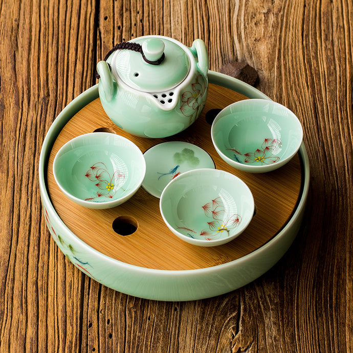 Bamboo Kitty lotus flowers Longquan celadon hand-painted pattern Round Mini-ceramic tea tray bamboo surface water storage water kung fu tea p