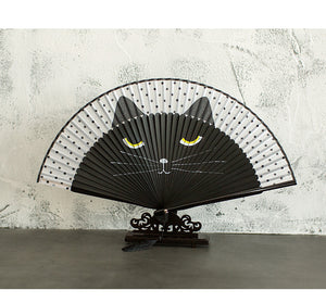 Bamboo Kitty Cartoon Hand Painted Cat Fan Japanese Bamboo Silk Folding Hand Held Fan Traditional Craft Chinese Decorative Fans Gift