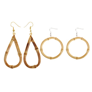Bamboo Kitty 2 Pairs Real Bamboo Wood Large Round Circle Teardrop Earrings