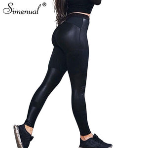 Bamboo Kitty Patchwork PU leggings women pants athleisure bodybuilding elastic fitness legging sporting black jeggings activewear