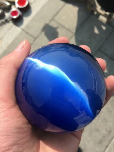 ASIAN QUARTZ AZUL PROFUNDO CAT EYE BOLA de CRISTAL ESFERA 60 MM + SUPORTE