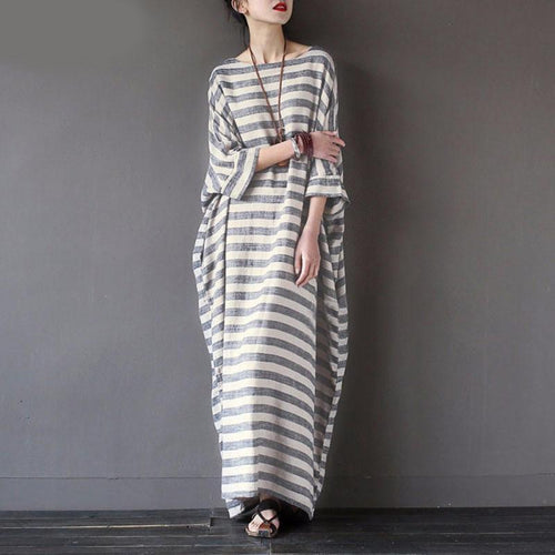 Autumn New Women Retro Style Cotton Hemp Striped Robe Art Lofty Large Long Paragraph Dress Ladies Elegant Fashion Dress