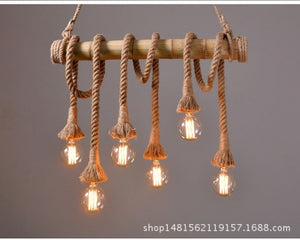 Loft bamboo tube hemp lamps dining room living room -bamboo lighting