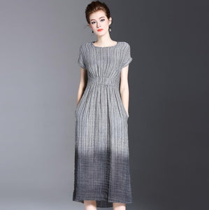 Hot selling Korean fashion women's clothes sleeveless The waist belt Cotton hemp dress women's striped dress