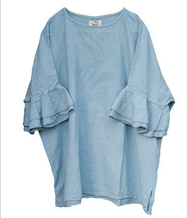 Solid color comfortable hemp cotton lotus sleeves mid-length clothing retro artistic style cotton and linen T-shirt