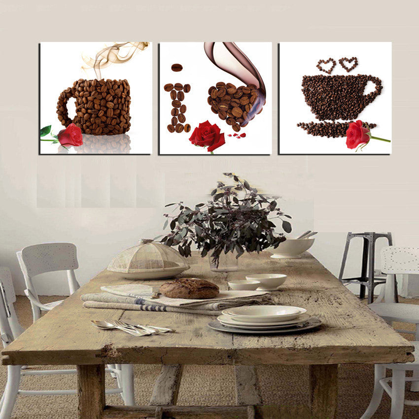 Coffee Bean Modular Canvas 3 PC Set