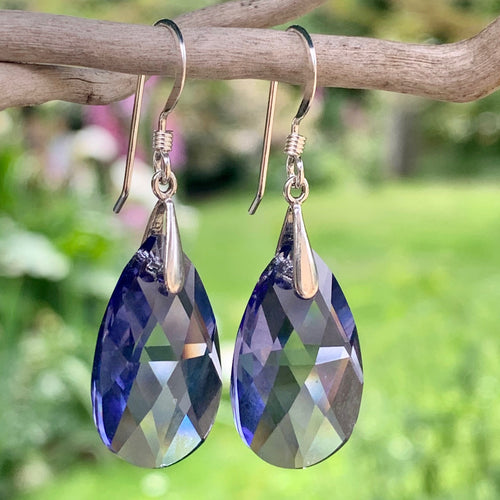 Swarovski Teardrop Earrings, Purple