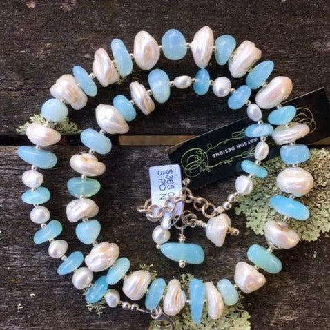 Peruvian Opal and Keishi Pearl Necklace, Rowena Watson Designs