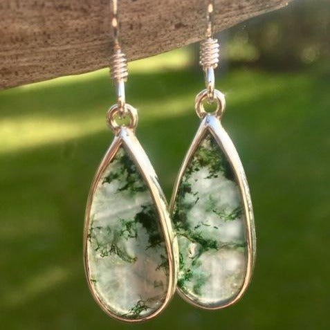 Moss Agate Drop Earrings, Rowena Watson Designs