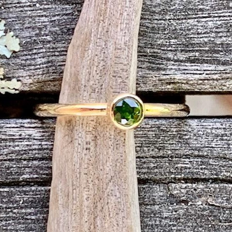 Gold Burmese Chrome Diopside Ring, Rowena Watson Designs