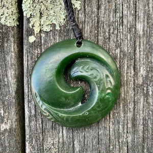 Double Sided Koru, New Zealand Greenstone
