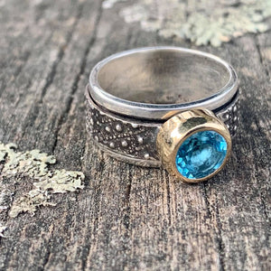 Blue Topaz in 9ct Yellow Gold on Sterling Canterbury Scree Spinner Ring, Rowena Watson Designs