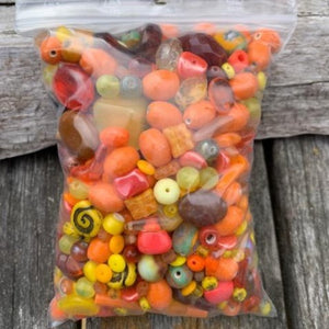 Pressed Glass Bead Mix, Small Bag Orange Shades