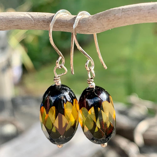 Carved Baltic Amber Earrings, Rowena Watson Designs
