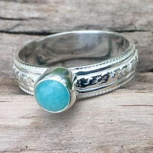 Amazonite Ring with Ornate Band, Rowena Watson Designs