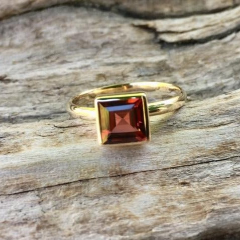 14ct Gold Square Garnet Ring, Rowena Watson Designs