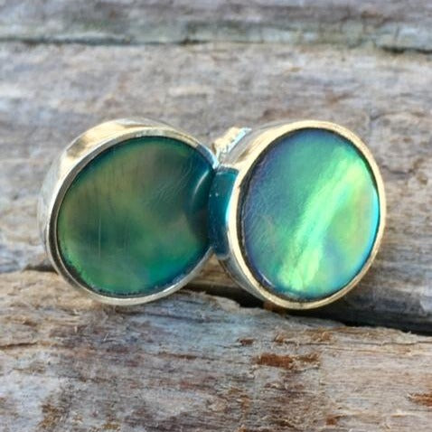 New Zealand Paua Shell Stud Earrings, Rowena Watson Designs