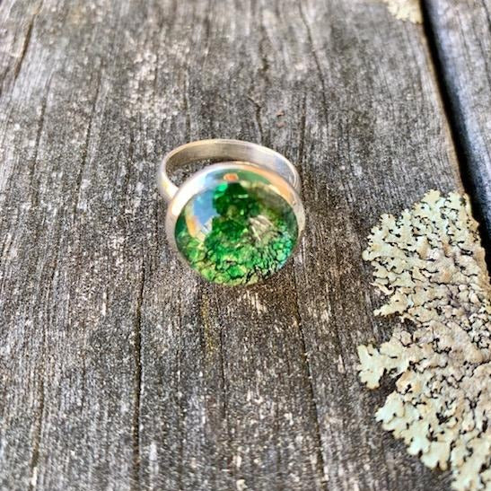 Vintage Green Foil Ring, Rowena Watson Designs