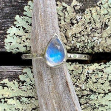 Pear Shape Rainbow Moonstone Ring, Rowena Watson Designs