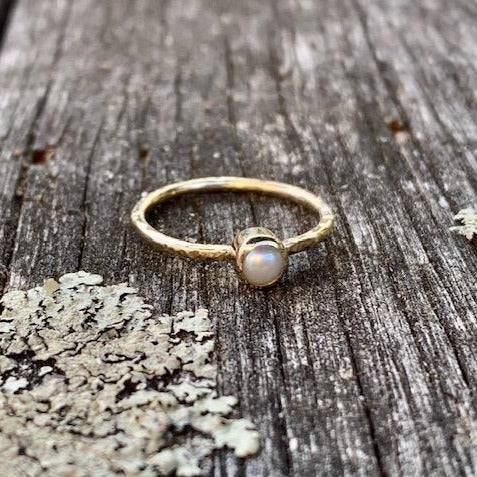 9ct Gold Pearl Ring with Hammered Band, Rowena Watson Designs