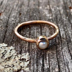 Rose Gold Pearl Ring with Hammered Band, Rowena Watson Designs