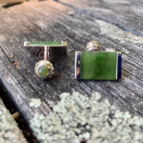 Greenstone and Sterling Silver Cufflinks