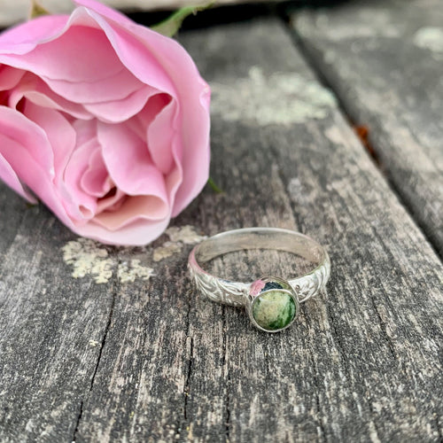 Marsden Flower Greenstone and Sterling Silver Ring with Ornate Band, Rowena Watson Designs