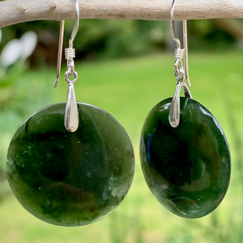 Kahurangi Circular Earings, New Zealand Greenstone