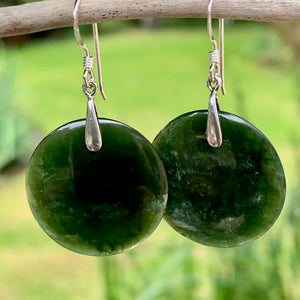 Kahurangi Circular Earrings, New Zealand Greenstone