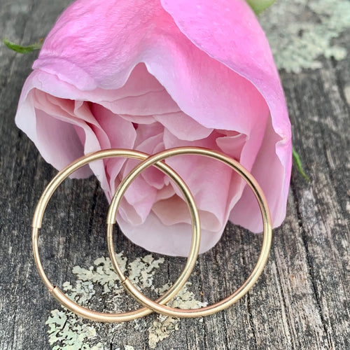 Yellow Gold Fill Endless Hoop Earrings, 24mm