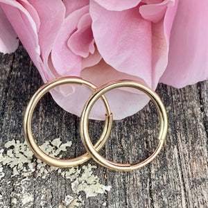 Yellow Gold Fill Endless Hoop Earrings, 14mm