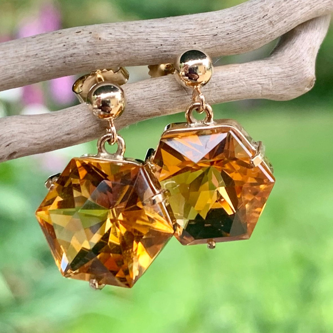 9ct Yellow Gold and Brazilian Citrine Earrings, Rowena Watson Designs