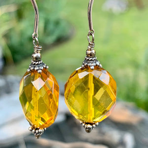 Faceted Baltic Amber Earrings, Rowena Watson Designs