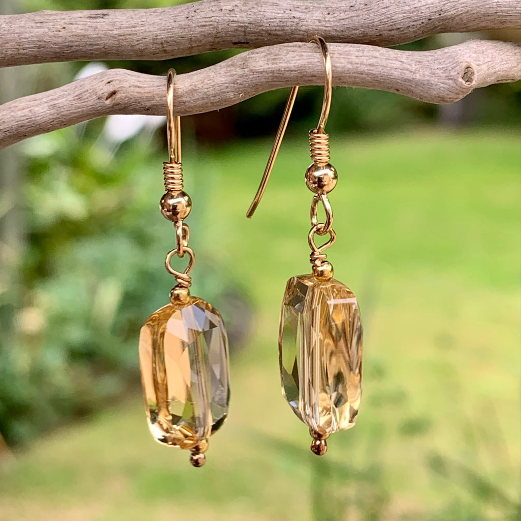 Citrine and Yellow Gold Fill Earrings, Rowena Watson Designs