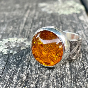 Baltic Amber and Sterling Woven Band Ring, Rowena Watson Designs