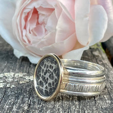 9ct Gold & Sterling Silver Beaten Coin Unity Ring, Rowena Watson Designs
