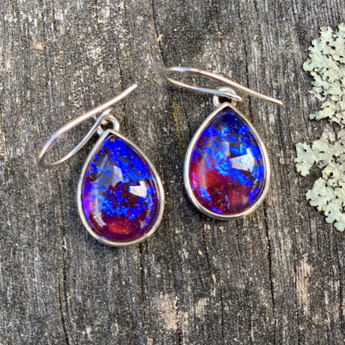 Vintage Dragon's Breath Glass Earrings, Rowena Watson Designs