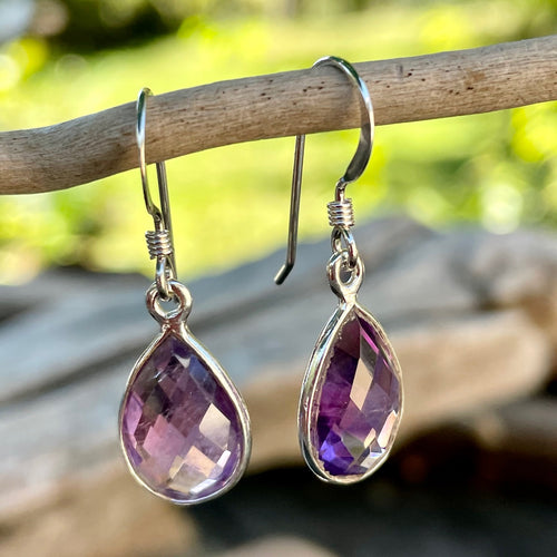 Faceted Amethyst Drop Earrings, Rowena Watson Designs