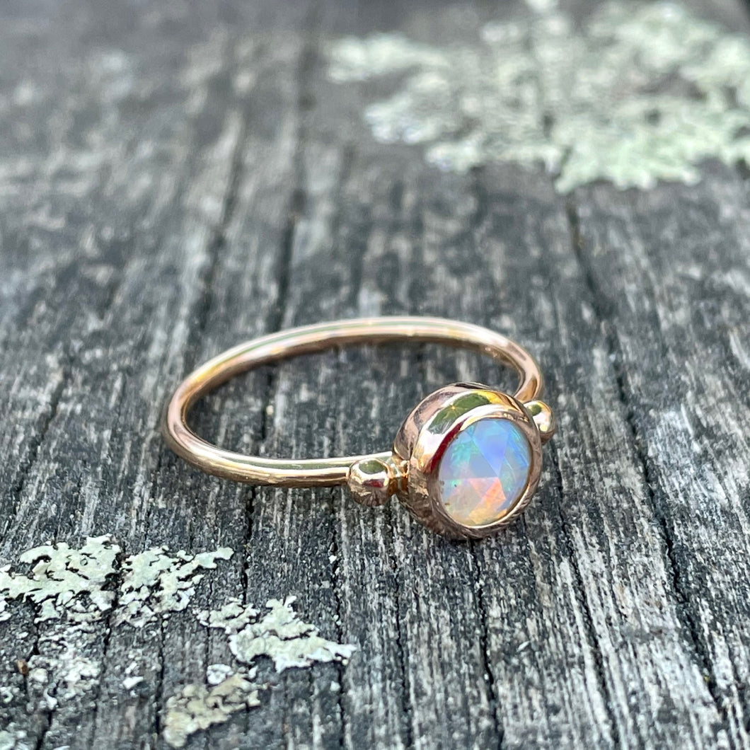 9ct Rose Gold & Rose Cut Australian Opal Ring, Rowena Watson Designs